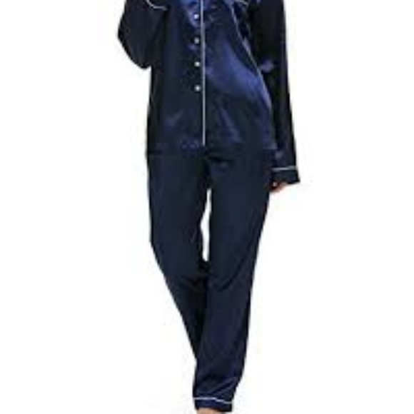 01c7eae778b Victoria s Secret silky dark blue Pajama pants XL.  M 5b4965283c98448ddc9c6f7a